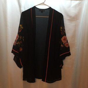 Black and Floral Sheer Kimono
